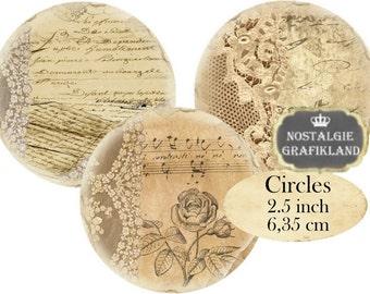 Circles 2.5 inch Vintage Lace Instant Download digital collage sheet C193 Ephemera