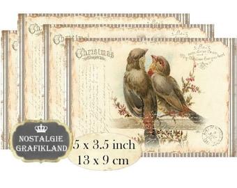 Vintage Christmas Birds Noel 5 x 3.5 inch Instant Download digital collage sheet P157