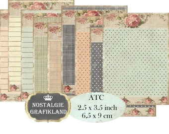 Shabby Chic Background Striped Dots Checked Instant Download ATC Digital Collage Sheet S093