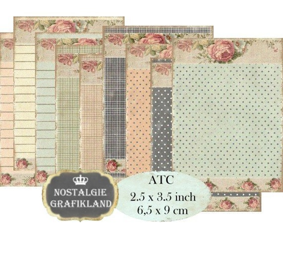 Shabby Chic Background Striped Dots Checked Instant Download