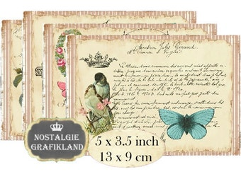 French Letter Postcards Text Script 5x3.5 inch Instant Download digital collage sheet P154 Ephemera