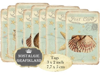 Nautical Tags Vintage Papers Maritime Seashells Seahorse Anchor Instant Download digital collage sheet T196