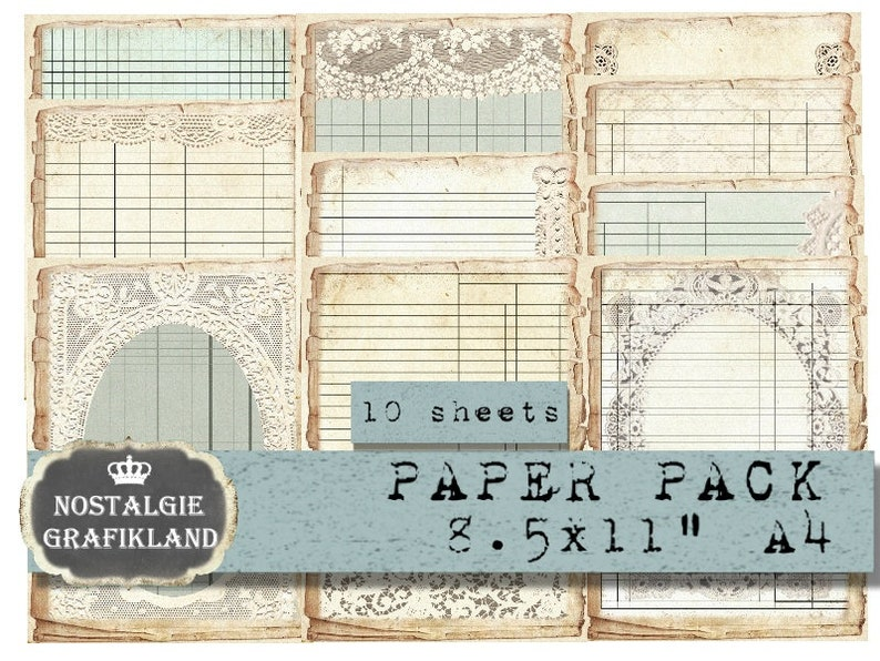 picture about Ledger Paper Printable named Lace Ledger Paper Pack printable Papers Ephemera Junk Magazine Offer Ledgers Typical Prompt Obtain electronic collage sheet PP134