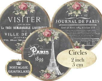 Chalkboard French Paris 2 inch Circles digital Eiffel Tower Instant Download collage sheet C186