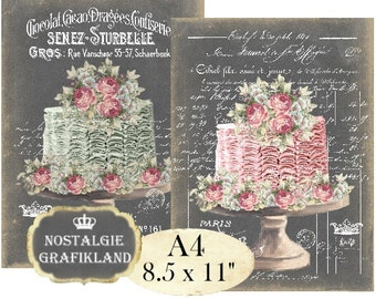 Chalkboard Patisserie Shabby Chic Wedding Cake Bakery A4 Decoupage Transfer Instant Download digital collage sheet A133