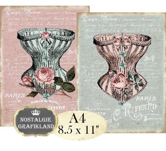 korset corset shabby chic victorian dessous lingerie a4 etsy. Black Bedroom Furniture Sets. Home Design Ideas