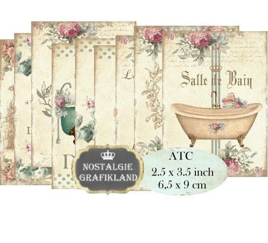 salle de bain french bath bathroom bathtub towels shabby chic etsy. Black Bedroom Furniture Sets. Home Design Ideas