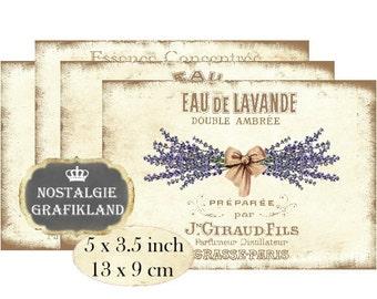 French Perfume Labels digital collage sheet Lavender Lilacs Rose Oranges Fruit P132