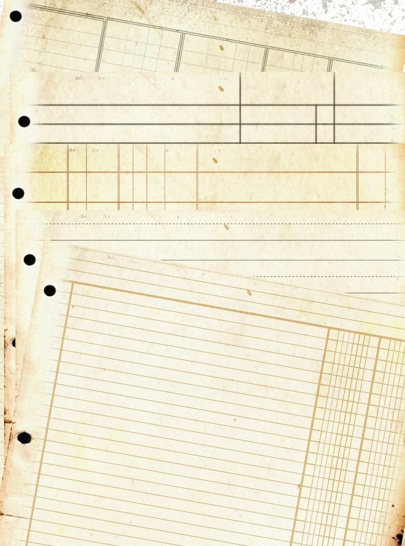 Ledger Paper Pack Ephemera Ring Binder Vintage Journal Shabby Digital Download digital collage sheet 8.5 x 11  PP105