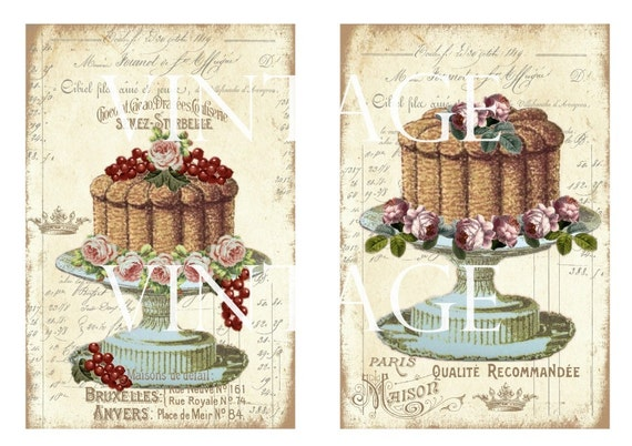 digital Cakes Wedding Cakes Tarte printable Pastry Patisserie Instant Download ATC digital collage sheet S129