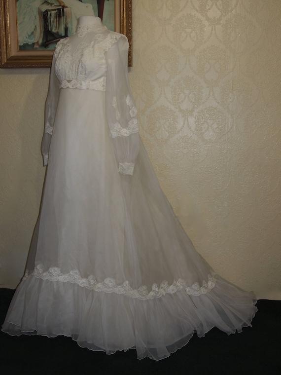 Bridal Originals 60's ORGANZA EMPIRE WAIST Weddin… - image 1