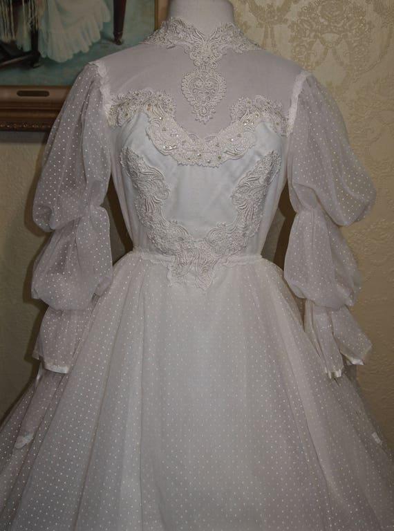 Vintage Victorian Edwardian Wedding Gown Size 6 8 Swiss Dot Etsy