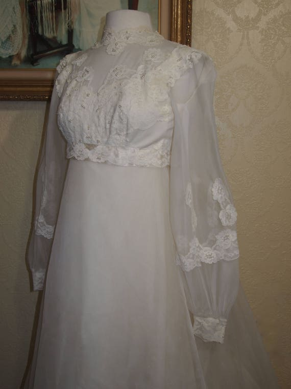 Bridal Originals 60's ORGANZA EMPIRE WAIST Weddin… - image 2