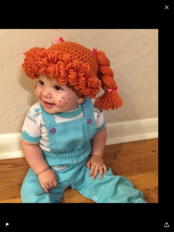 Cabbage Patch Kid Crochet Hat Wig  Short Blonde Hair Infant Toddler Adult CPK
