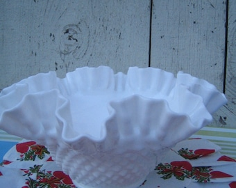 """Clearance! Milk Glas Hobnail, Double-Crimped, 9"""" Bowl - Fruit Display, Patio/Porch Holiday Decor, Knitting Bowl"""