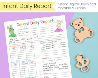 Infant Daily Report - In-Home Preschool, Daycare, Nanny Log - Printable and Fillable PDFs