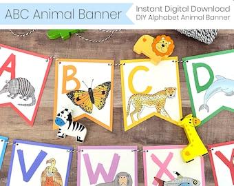 ABC Animal Banner - Printable Alphabet Banner - Instant Digital Download