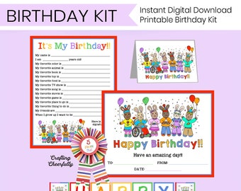 Printable Birthday Kit - Birthday Banner, Birthday Interview, Birthday Cards, Certificate, and Award Ribbon! - Instant Digital Download
