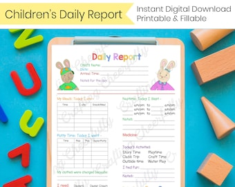 Children's Daily Report - Toddler & Older Kids - In-Home Preschool, Daycare, Nanny Log - Printable and Fillable PDFs