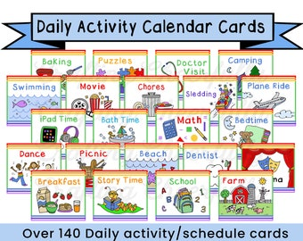 Children's Calendar Activity Cards, Visual Schedule Cards, Daily Rhythm Cards, Pocket Chart Calendar Cards, Instant Download Digital File