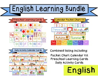 English Learning Bundle - Calendar Cards and Learning Flashcards - Digital Download