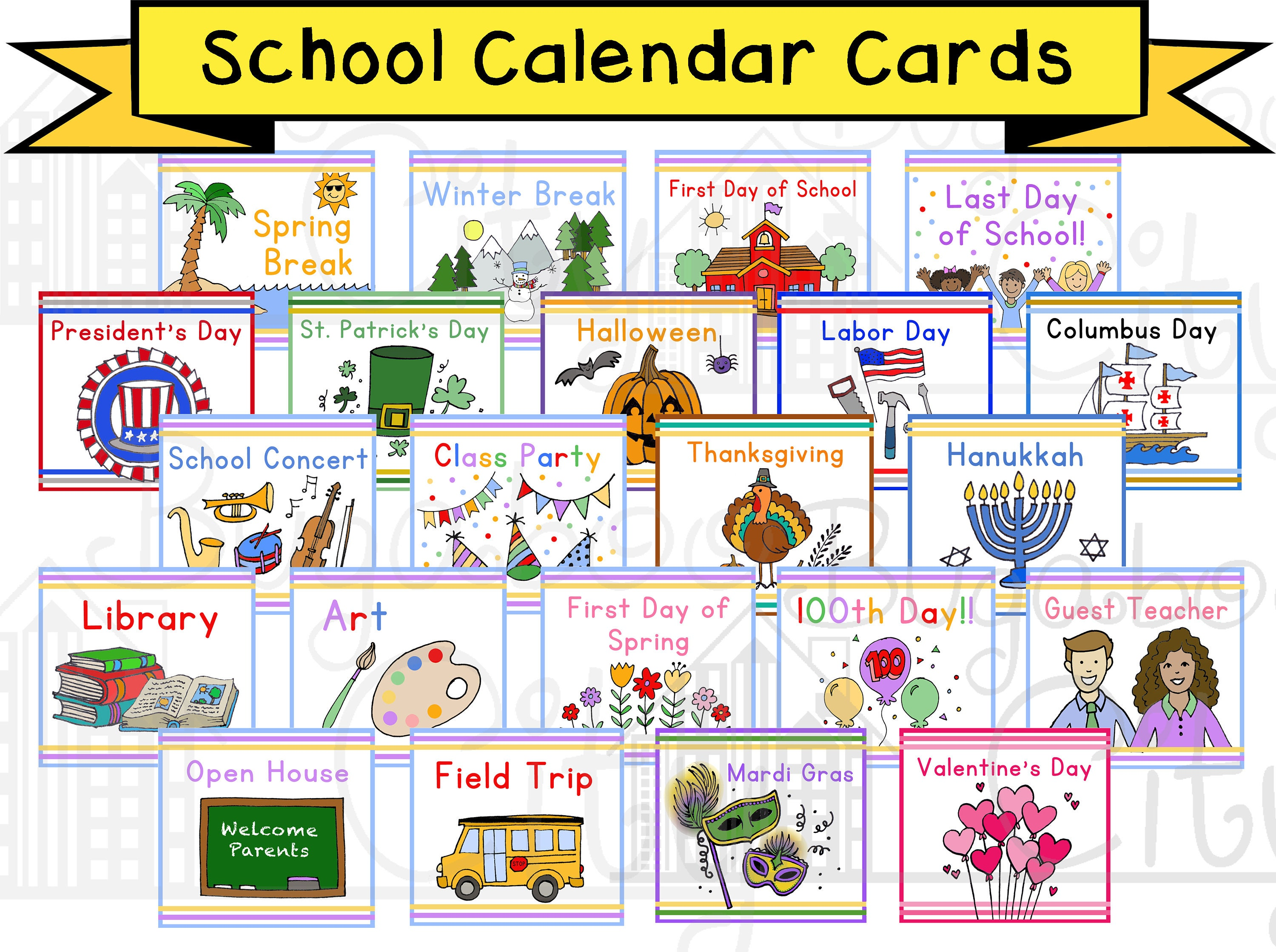 School Days And Holidays Pocket Chart Calendar Cards Instant