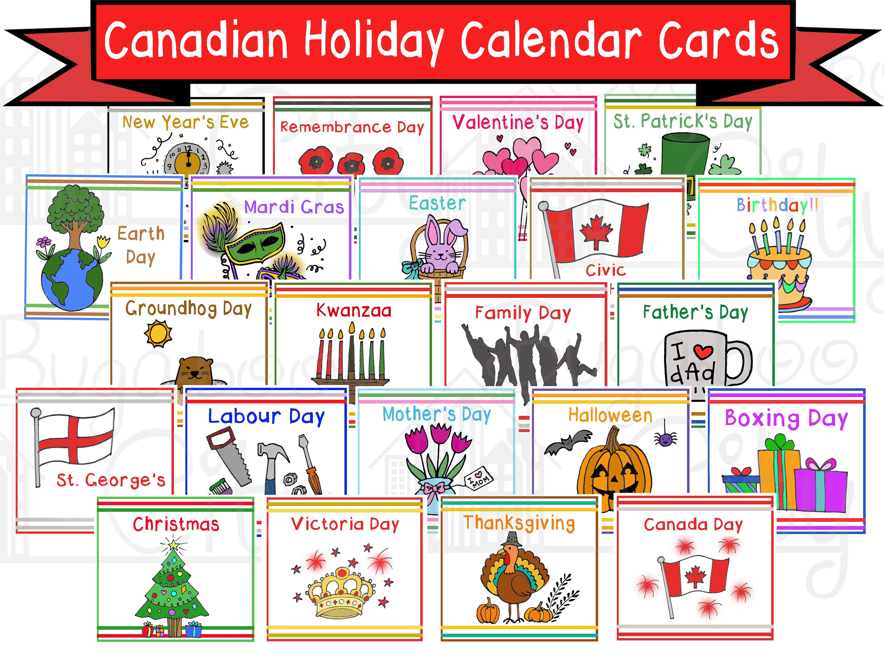 Canadian Holiday Calendar Cards Digital Pdf Packet Preschool