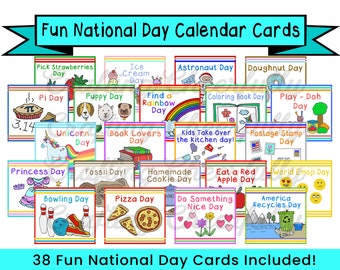 Fun National Day Cards for Children's Calendar - Calendar Cards - Instant Digital Download