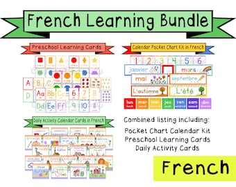 French Learning Bundle - Calendar Cards and Learning Flashcards - Digital Download
