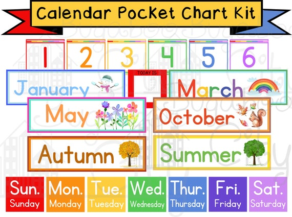 Pocket Chart Children S Calendar Pocket Chart Cards Etsy