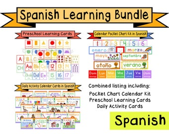 Spanish Learning Bundle - Calendar Cards and Learning Flashcards - Digital Download