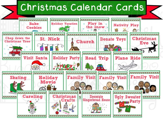 Christmas Calendar Cards Children S Calendar Digital Etsy