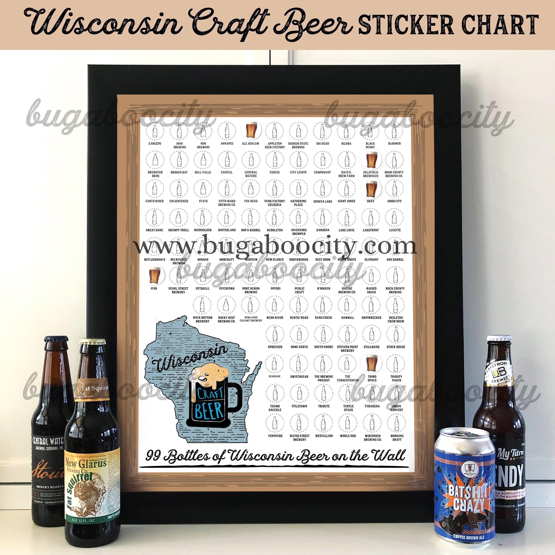Wisconsin Craft Beer Sticker Chart Brewery Checklist 99