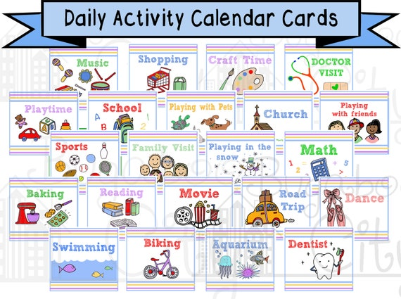Children S Calendar Activity Cards Pocket Chart Calendar Etsy