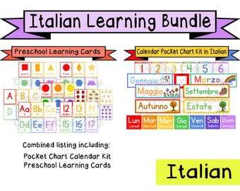 Italian Learning Bundle - Calendar Cards and Learning Flashcards - Digital Download