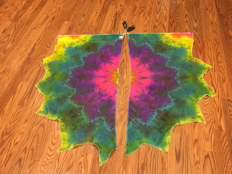 Made To Order Swivel Handles Flag Poi with handle Hand dyed silk habotai in trippy UV Glow colors help you shine in performances