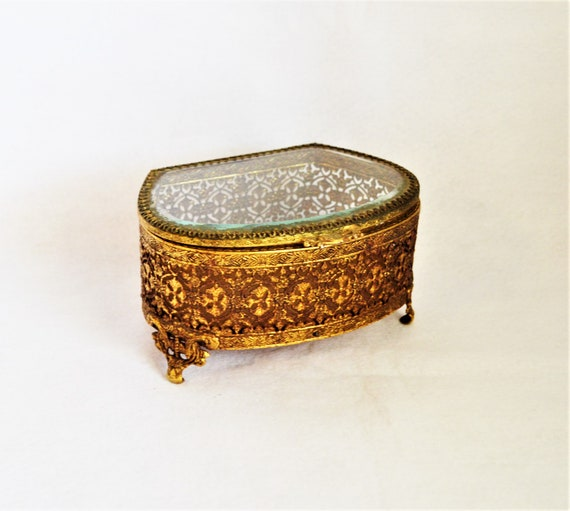 Casket Jewelry Ring Box Trinket Steampunk Ormolu French Brass Filigree Victorian Rococo Style Black Owned Business