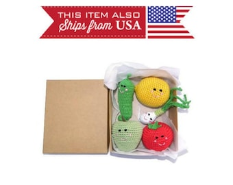 Activity Sensory Toy Develop 5 Pc Crochet Fruits Kid For Girl 2nd Birthday Gift Grandkids 2 Year Old Montessori Baby