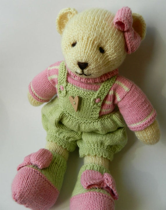Hand Knitted Teddy Bear First Birthday Gift Girl Knitted Bear Etsy