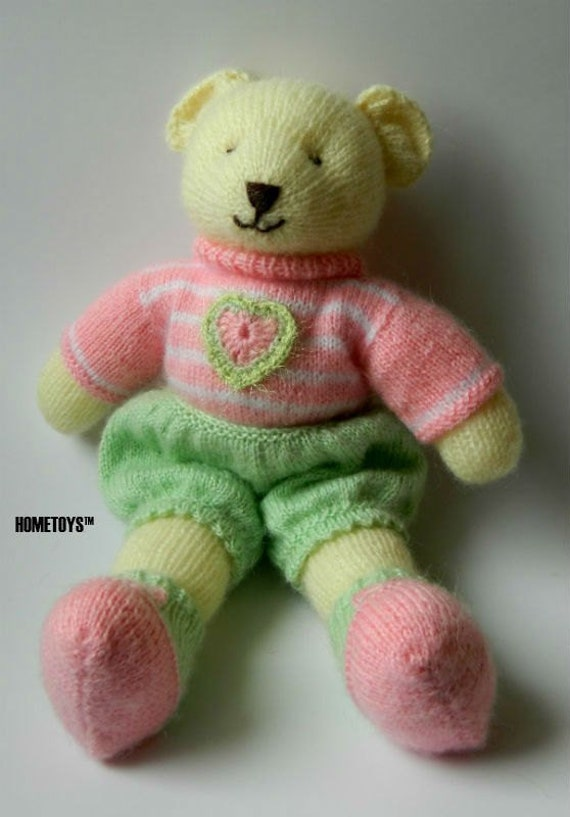 Hand Knitted Teddy Bear First Birthday Gift For Baby Girl