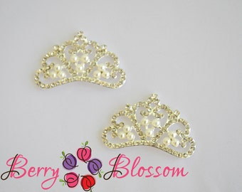 Tiara with Pearls & Rhinestones embellishment - 35 x 23mm size - Tiara Crown Button - Set of 2 or 4 pieces - Bling