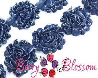 """Denim Shabby 1 yard flower trim - 2.5"""" inch - frayed chiffon - rose flowers by the yard - CX blue jean denim"""