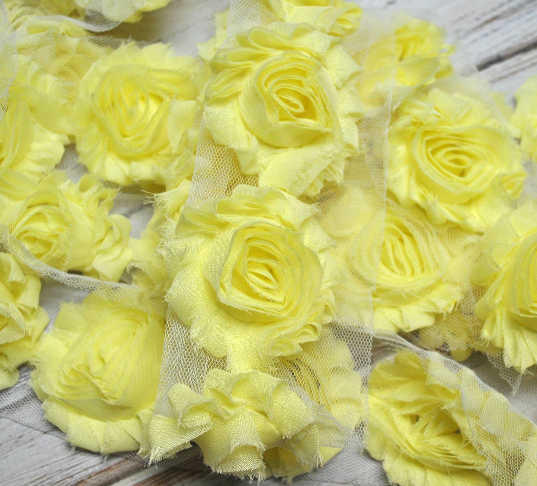 25 Light Yellow Shabby Flower Trim Frayed Chiffon Etsy