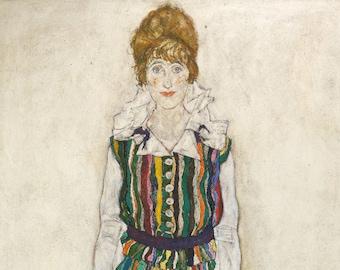 Portrait of A Woman, Edith, the Artist's Wife, Egon Schiele, Austrian Oil Painting Print
