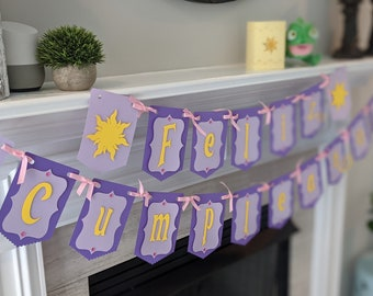 Rapunzel Feliz Cumpleanos Banner with Rhinestone Details - LARGE Statement Piece Banner