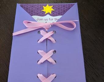 Tangled Rapunzel Invitation Enclosure / Pocket  - Choose 4 x 6 or 5 x 7