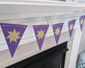 Tangled Flag Banner with Gold Glitter Suns