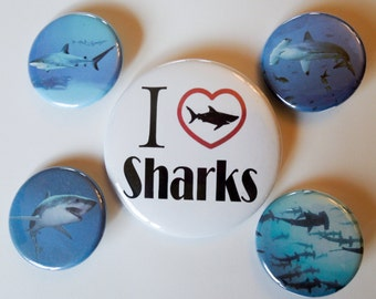 Shark Fanatic Pinback Buttons or Magnets, Badges, Pins Set of 5 Hammerhead