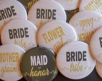 "2.25"" Gold Pink and Black Modern Bachelorette Party Buttons"