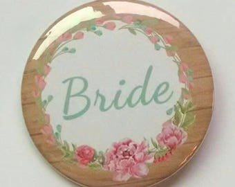 "1.25"" Tan Floral Rustic Bachelorette Party Buttons"